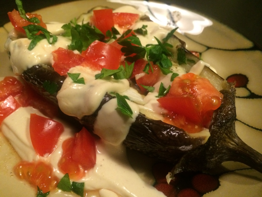 Whole Roasted Eggplant with Tahini sauce