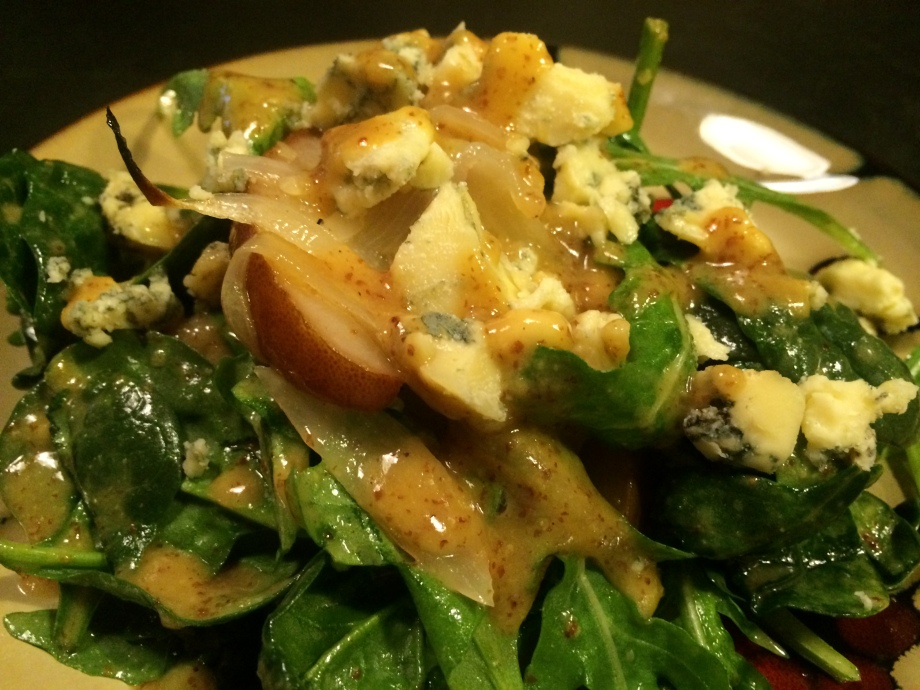Roasted Pear, Stilton and Maple Mustard Salad