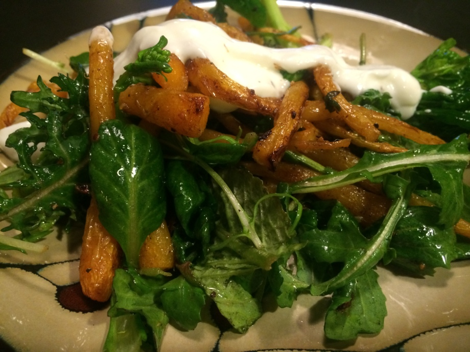 Roasted Cumin Carrots with Lemony Yogurt Sauce