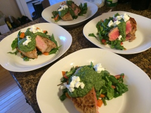 Seared tuna with Green Pesto and Goat Cheese