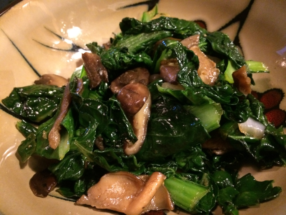 Yukina Savoy greens and Mushrooms