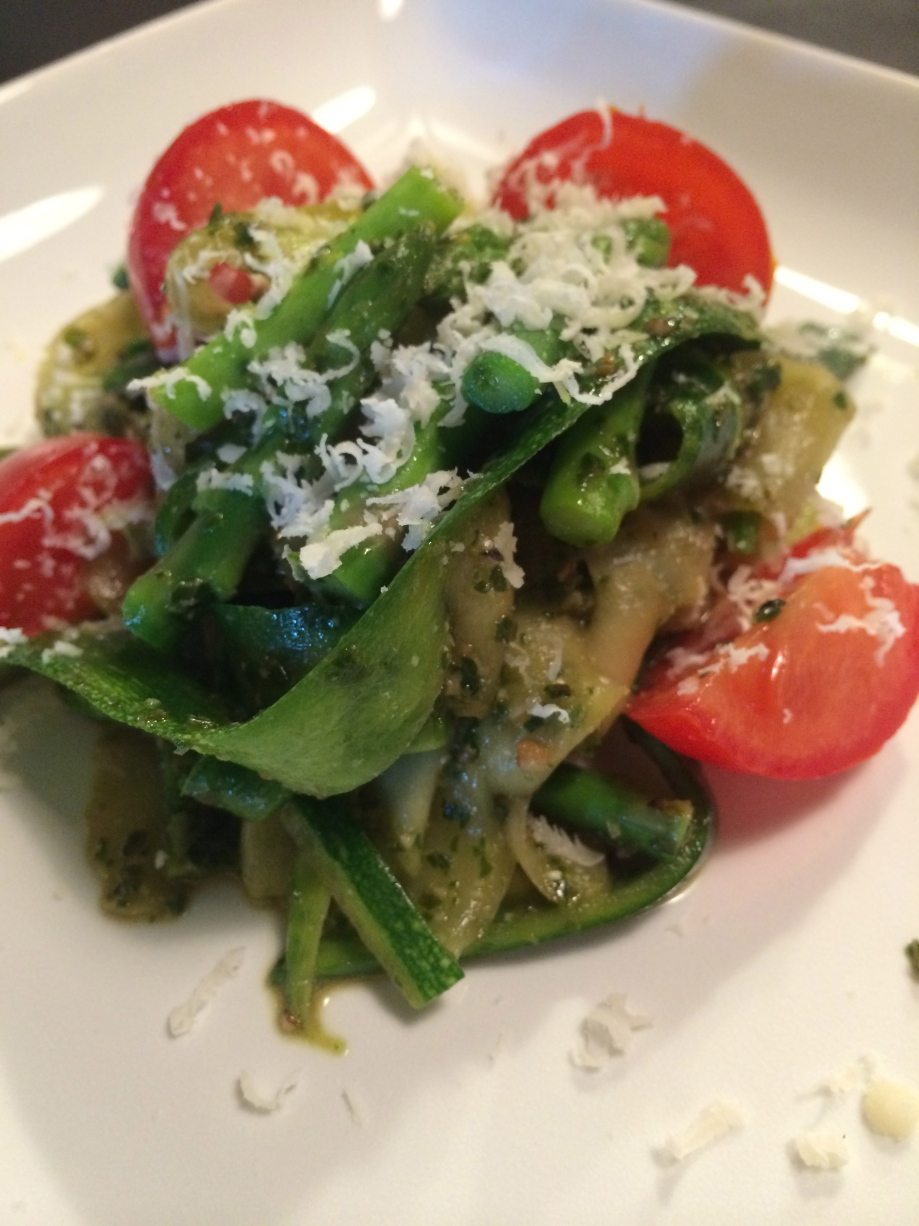 Pesto Zucchini Noodles with Asparagus