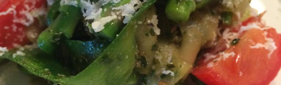 Pesto Zucchini Noodles withAsparagus
